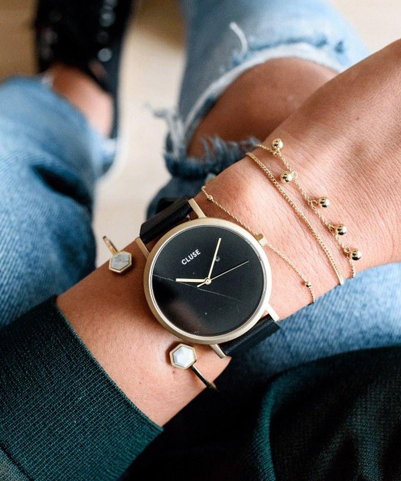 CLU9926 CL40004 大理石紋皮革腕錶 La Roche Gold Black Marble