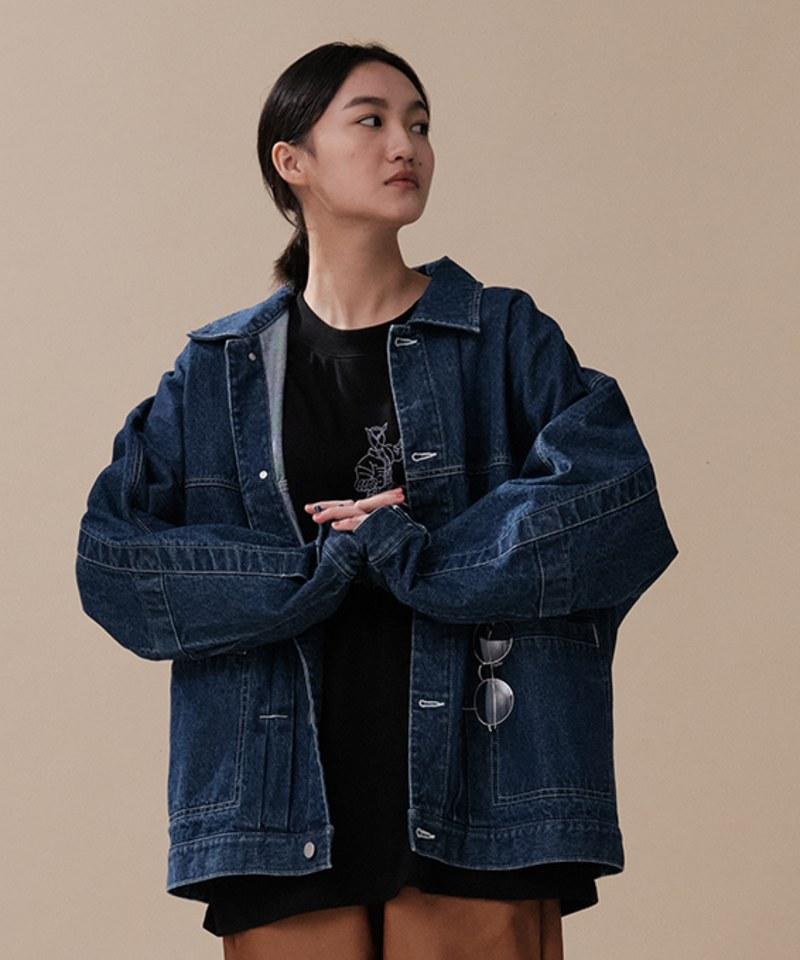 COP11102A 【預購】水洗鬆身丹寧夾克