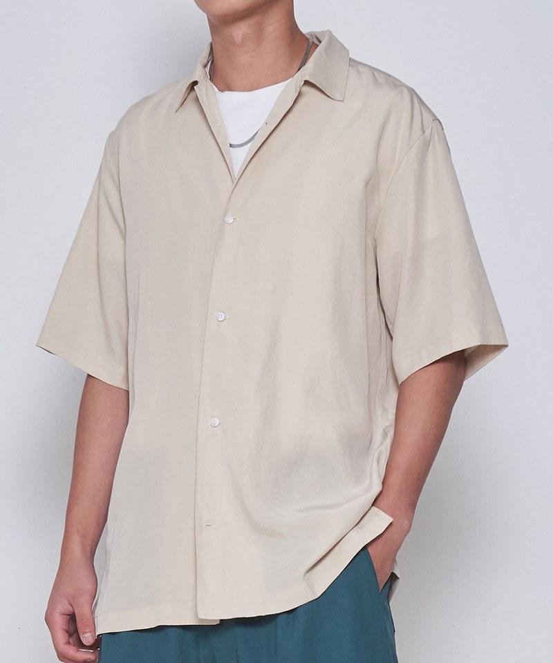 COP33156 麻混開領短袖襯衫