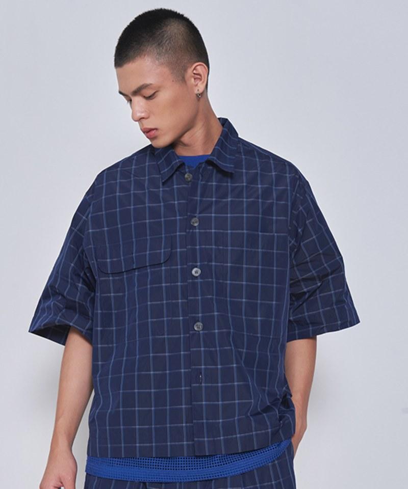 COP33161 格紋雙口袋短袖襯衫