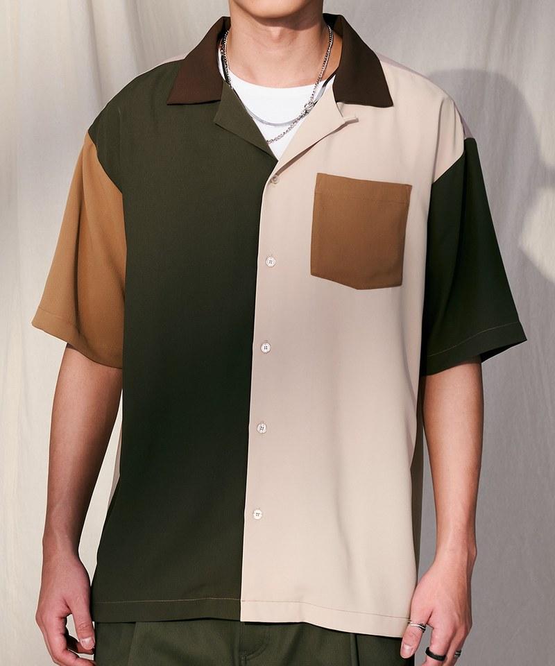 COP33163 多色塊拼接襯衫