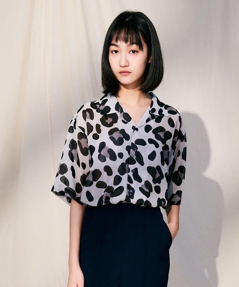 COP33165 豹紋薄透短袖襯衫