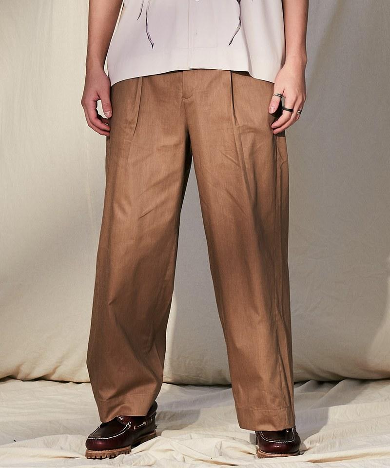COP3808 麻混紡立體剪裁直筒長褲