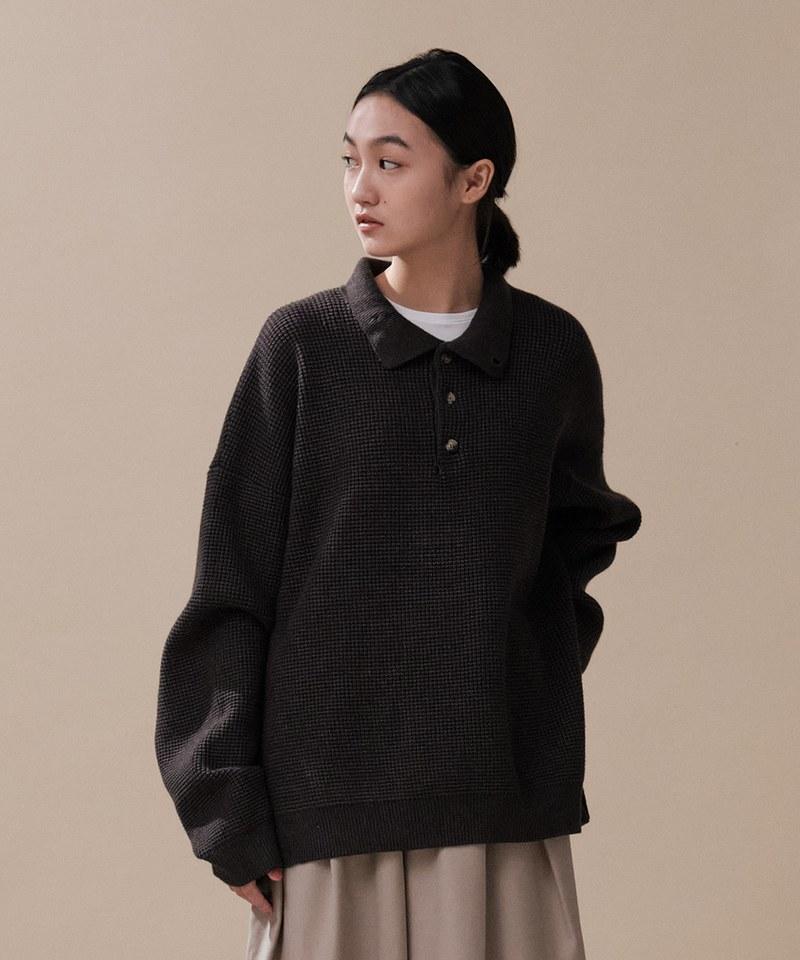 CRV0304 mouggan X plain-me風格立體織紋針織衫