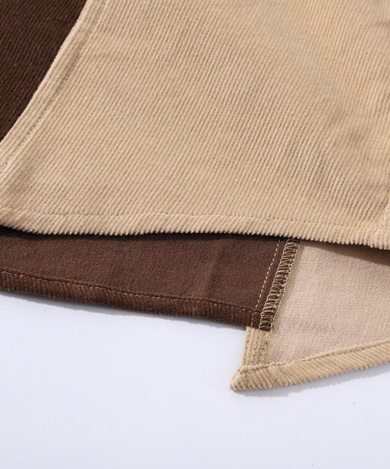 CSB0207 Old Man Fatigue Shirt 燈芯絨拼接襯衫
