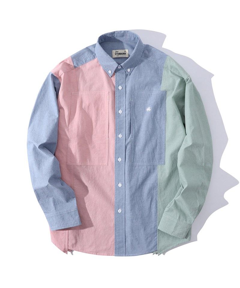 CSB0208 Old Man Fatigue Shirt 配色拼接襯衫