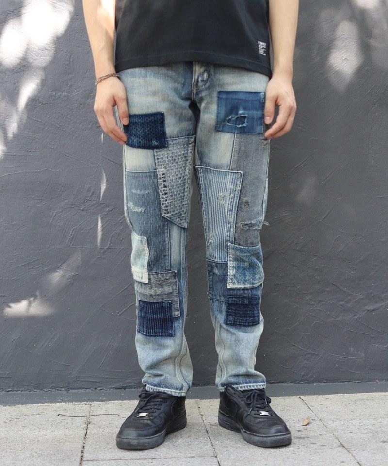 FDM1409 SLIM FIT STRAIGHT DENIM CS85 拼接修身窄管牛仔褲 (附近)
