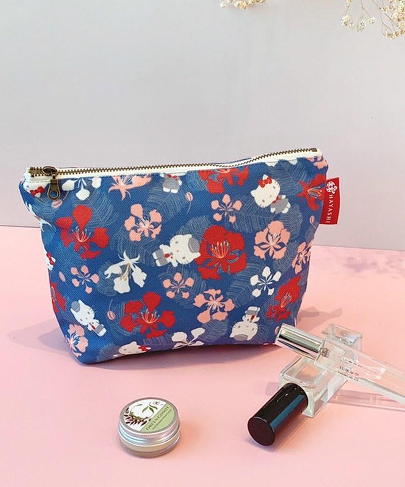 HYS9910 鳳凰花藍日式化妝包-林百貨xHello Kitty