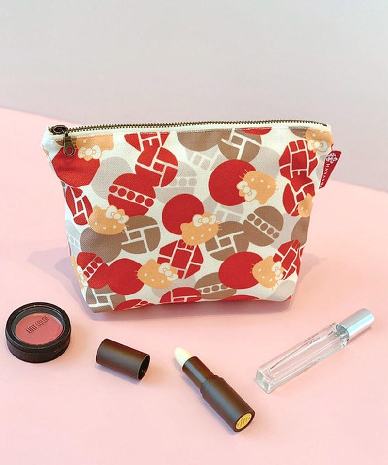 HYS9913 窗格紅日式化妝包-林百貨xHello Kitty