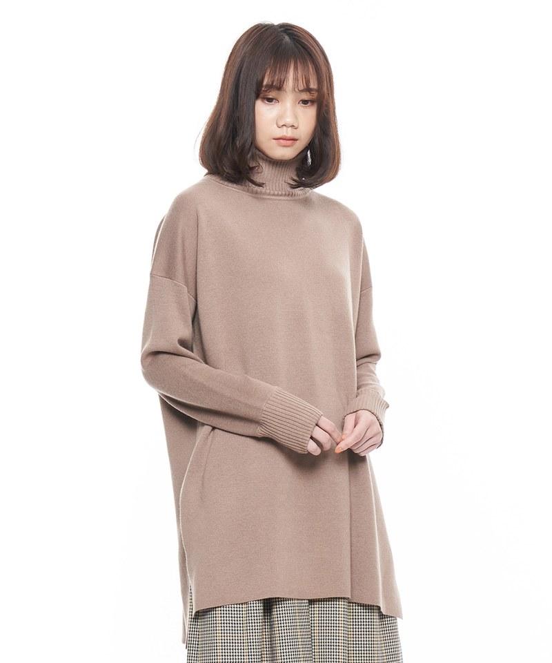 羊毛混紡高領長版毛衣
