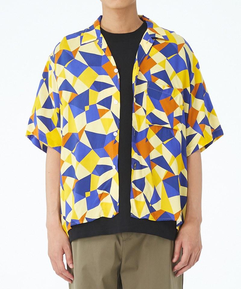 幾何圖形開領短袖襯衫