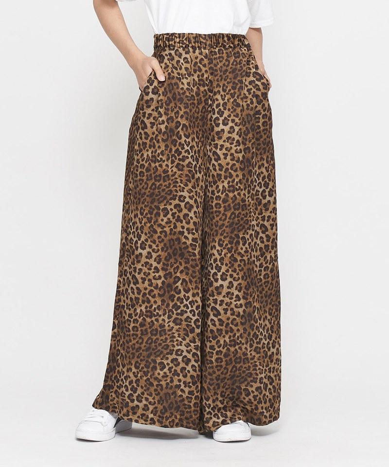 JSD1610 豹紋緞面寬褲