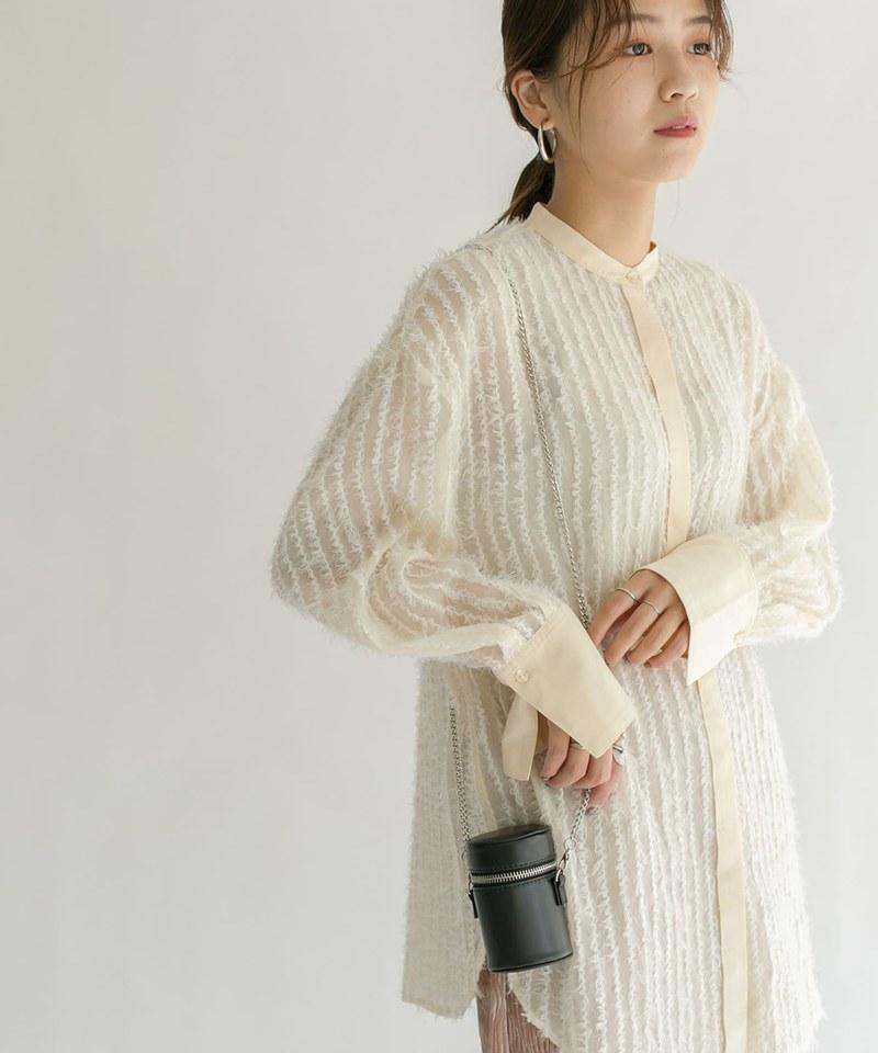 KBF0217 羽毛狀透膚襯衫