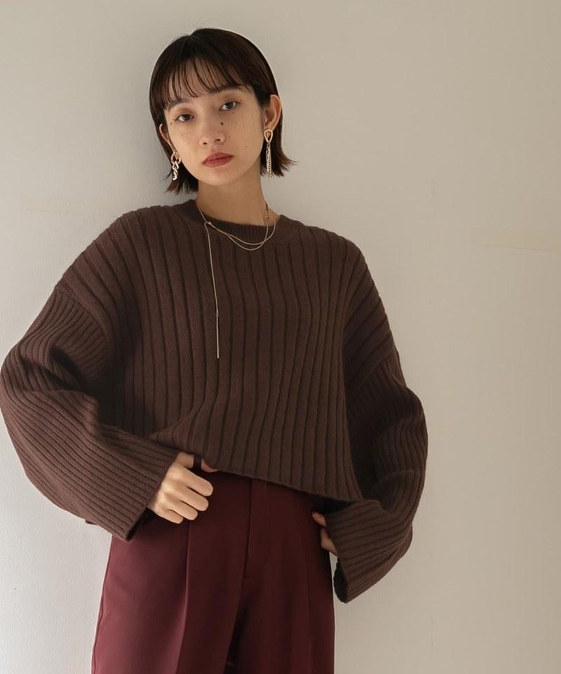 短版羅紋針織衫