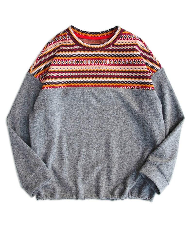 MCM9978 緹花針織剪接羊毛上衣