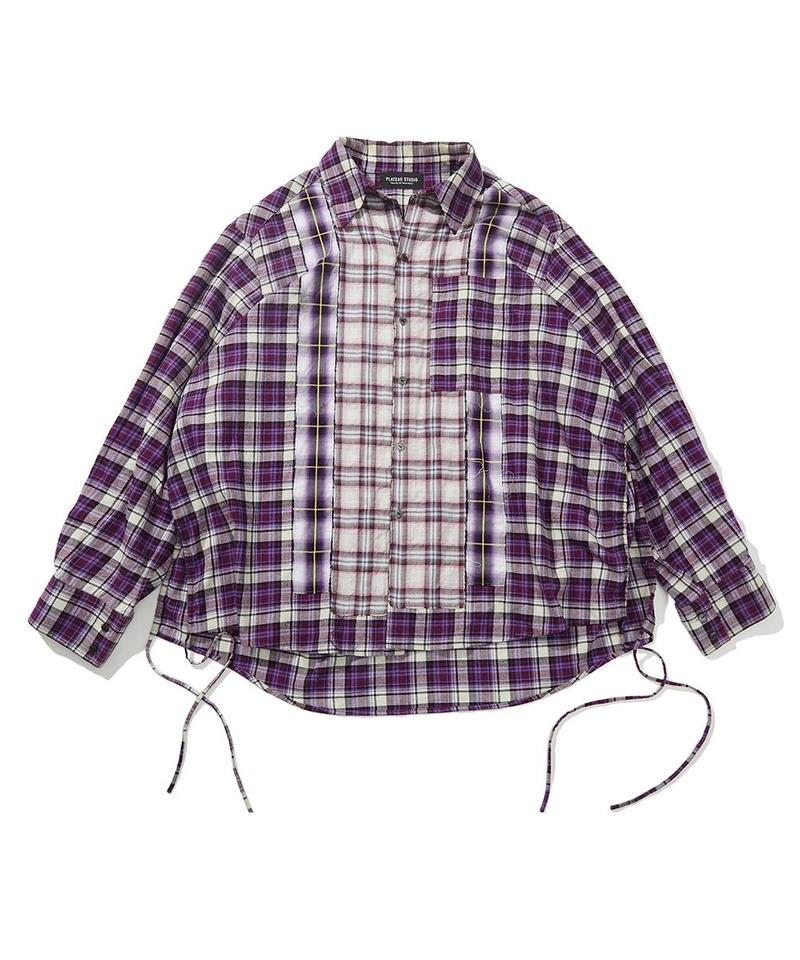 PLT9963 格紋寬鬆襯衫 oversized spliced flannel shirt