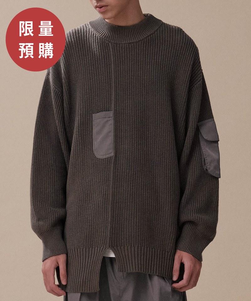 CRV0306 【預購】mouggan X plain-me異材質口袋細節毛衣