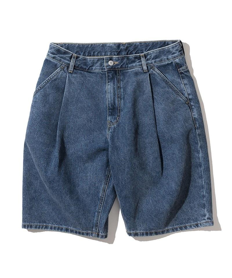 打褶丹寧短褲 one tuck denim shorts