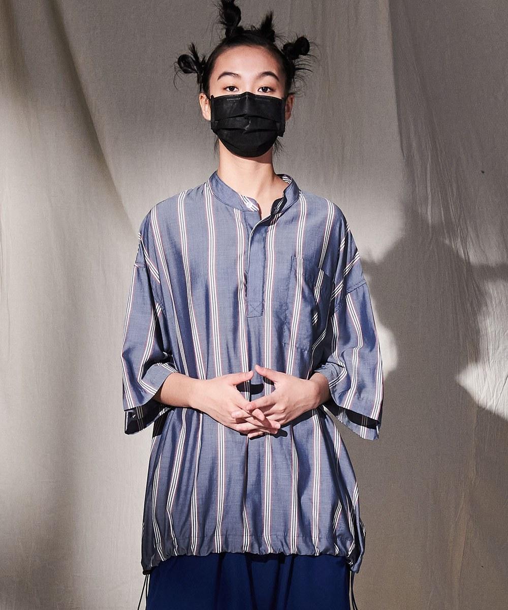 COP0178 半開襟天絲條紋套頭衫