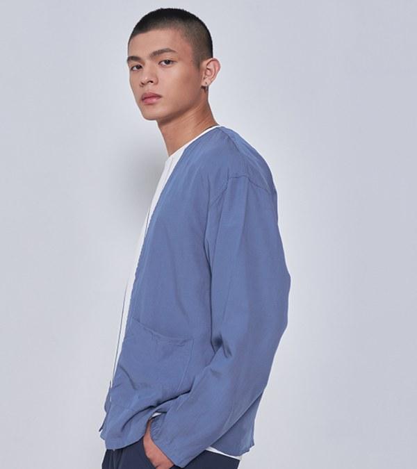COP11104 麻混貼袋罩衫