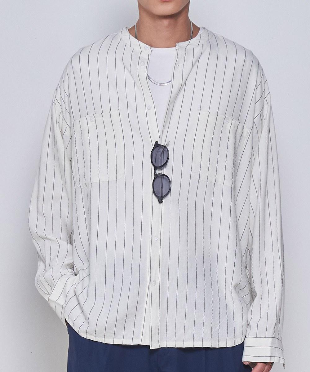 COP33157 麻混寬版立領條紋長袖襯衫
