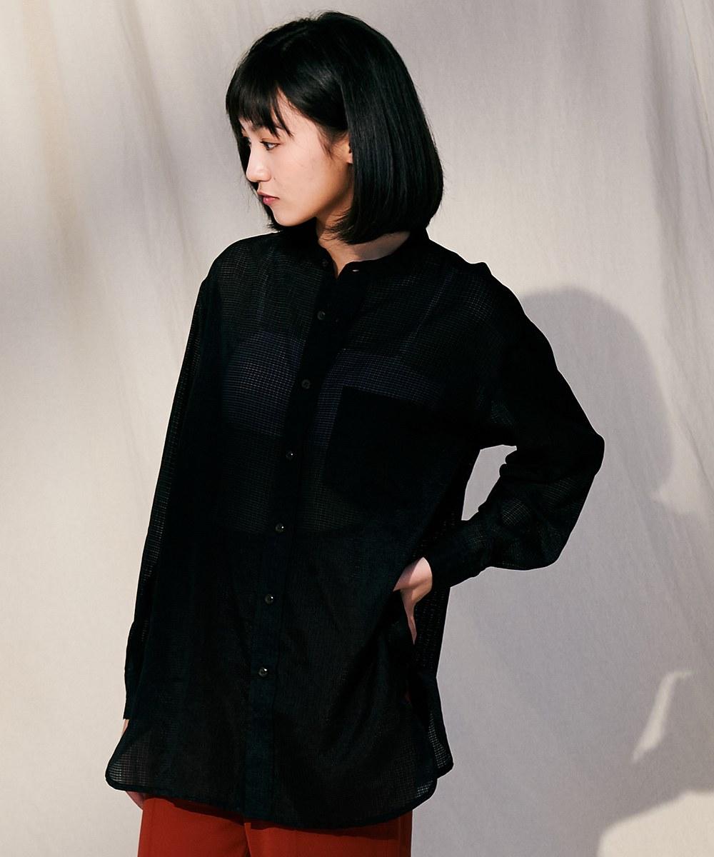 COP33166 女款薄透格子襯衫