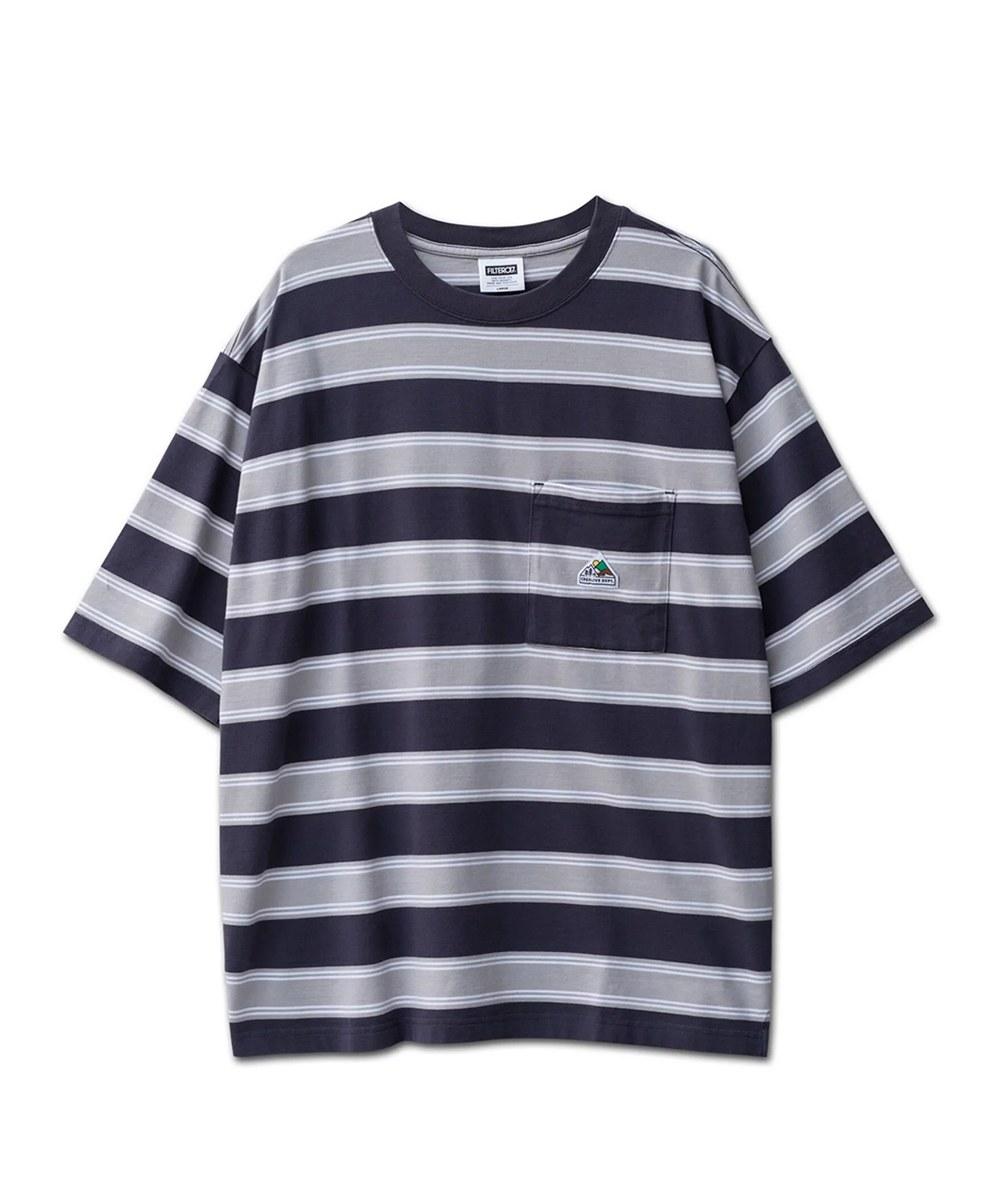 FLT0105 山峰口袋條紋短Tee