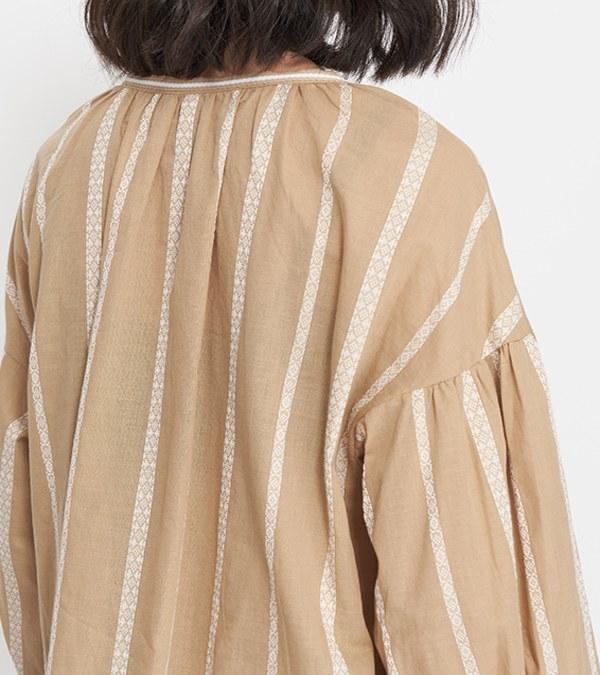 JSD0013 緹花條紋套頭上衣