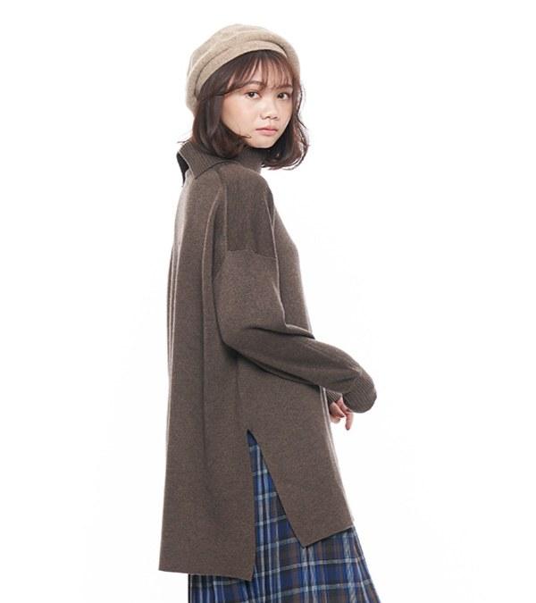 JSD0037 羊毛混紡高領長版毛衣