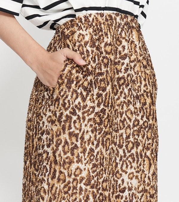 JSD4006 豹紋刷毛長半身裙