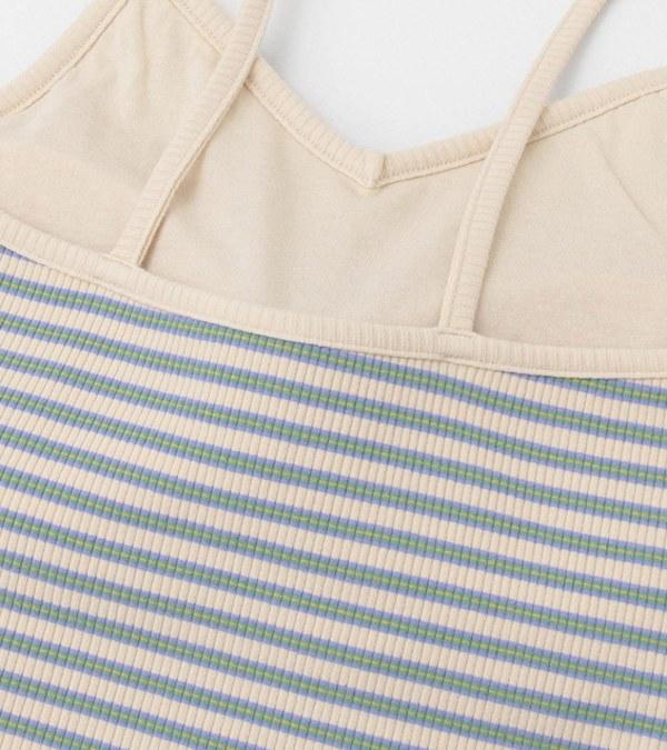 KBF0503 附罩杯橫紋細肩帶背心