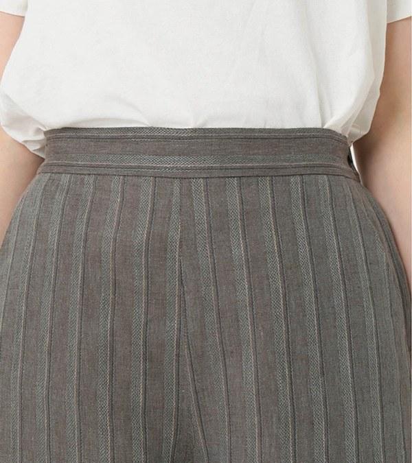 RLMW1601 LINEN STRIPE SEMI-WIDE PANTS 亞麻條紋寬褲