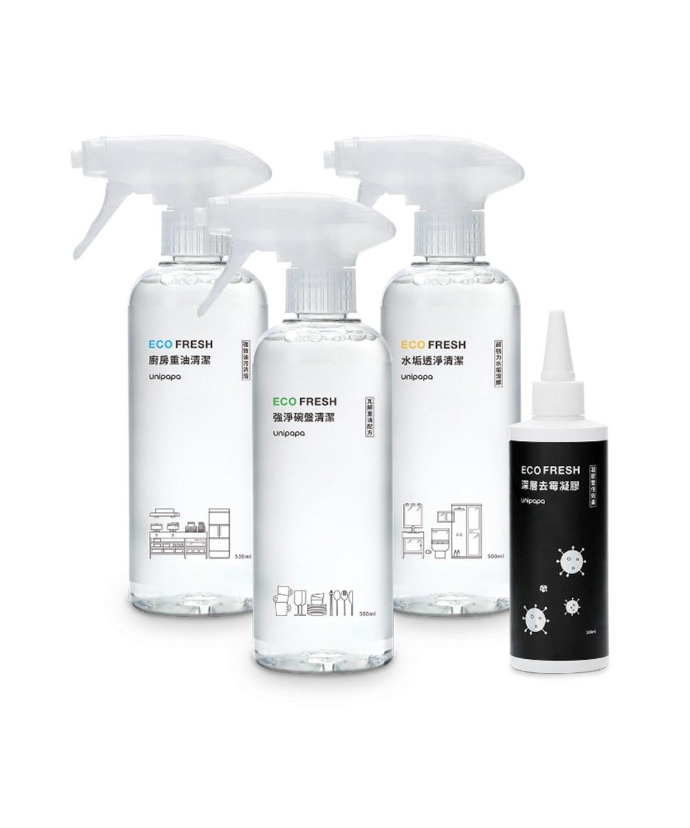 UPP9921 Unipapa ECO FRESH 清潔綜合體驗組4瓶入+3噴頭